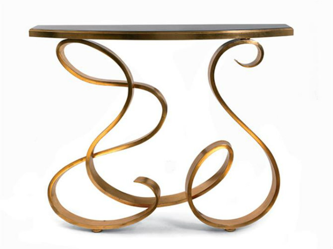Modern console table in gold