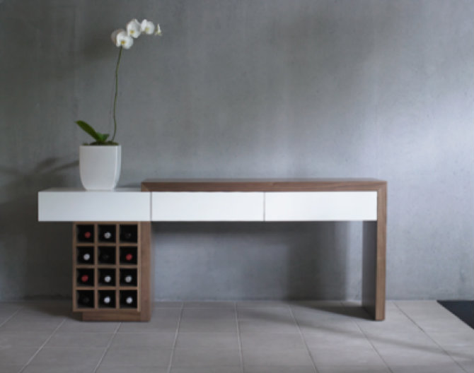 Wood Console Table with Drawers