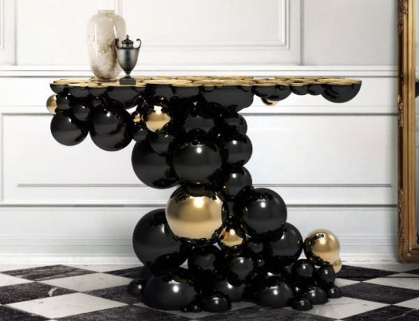 modern console table golden console tables Golden Console Tables by Boca do Lobo ft 19 600x460