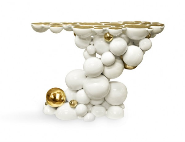 White Console Table with gold touches by Boca do Lobo white console tables Modern White Console Tables ft 3 600x460