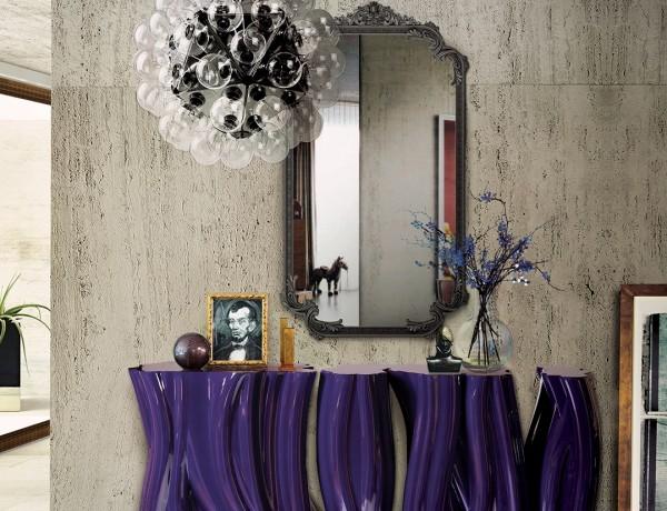 Monochrome Console Table lacquered console tables 6 Stunning Lacquered Console Tables for A Trendy Interior monochrome purple 04 600x460