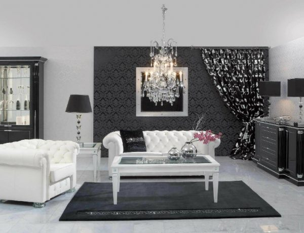Console Tables Luxury Console Tables for a Glorious Home black white interior design living room with white tufted sofa ideas also wooden glass coffee table on the black carpet and console table regarding white and black living room furniture 600x460