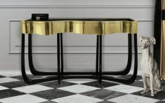 modern console tables Best Wood and Brass Modern Console Tables featrued 240x150
