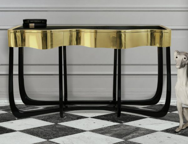 modern console tables Best Wood and Brass Modern Console Tables featrued 600x460