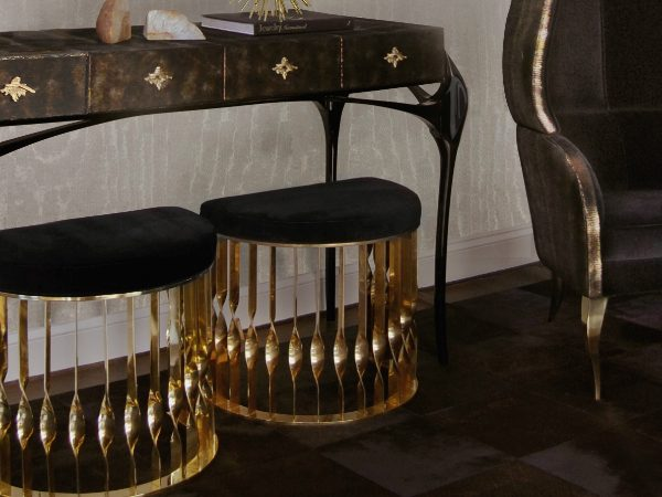 console table Discover How to Style a Modern Console Table temptation console reve mirror mandy stool drapesse chair koket projects 1 600x450