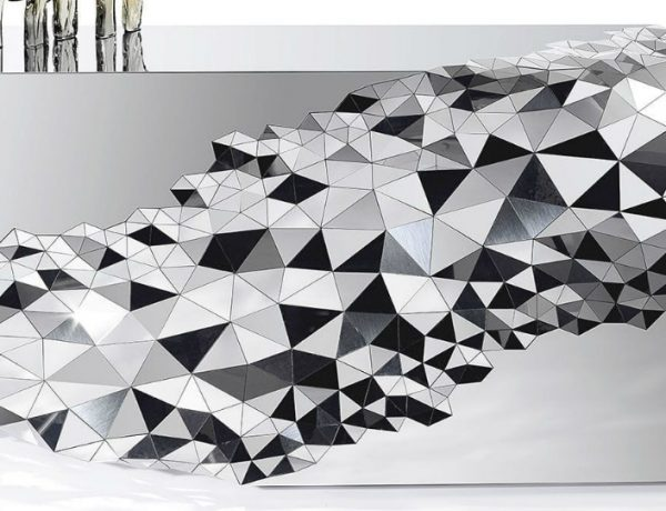 Mirrored Console Table Geometric Mirrored Console Table By Jake Phipps fffffffffffffffff 600x460