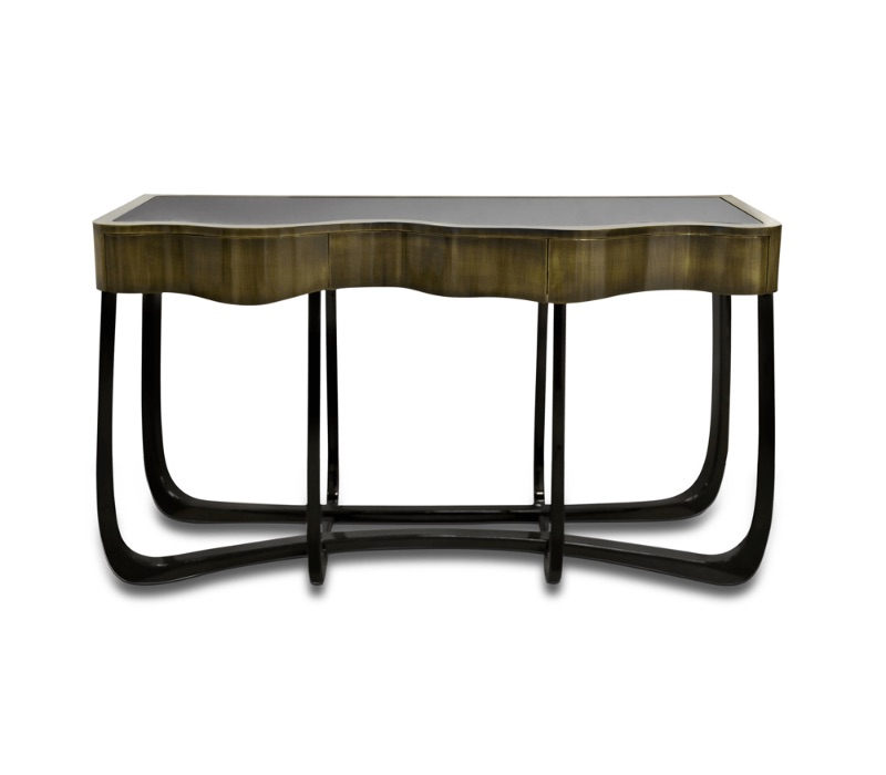Glass Console Tables glass console tables Breathtaking Contemporary Glass Console Tables sinuous patina console 01 zoom boca do lobo