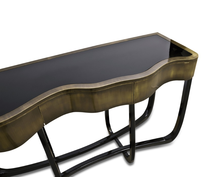 Glass Console Tables glass console tables Breathtaking Contemporary Glass Console Tables sinuous patina console 03 zoom boca do lobo